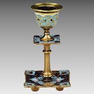 Antique French Notre Dame Candleholder gilt bronze enamel champleve cloisonne