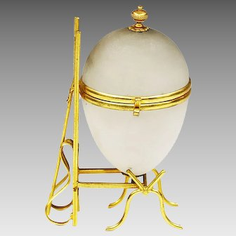 Antique French white opaline glass hinged Egg Box set in gilt ormolu mounts