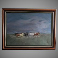Austrian Roland Strasser 1895-1974 oil on canvas painting Horses important