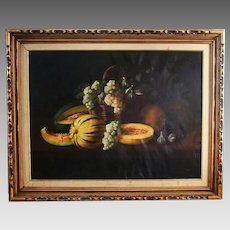 Oil Canvas painting Fruit Still Life Antique 19th Century Continental School
