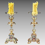 Pair Antique French champleve enamel cloisonne bronze Candle Holders