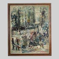 Janis Ferdinands Tidemanis (1897-1964) Latvian oil on masonite Montreal Snow Storm
