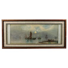 P.C. Dommersen Dutch 1834-1918 Water-colour Moon light seascape with Boats - Red Tag Sale Item