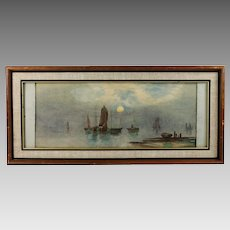 P.C. Dommersen Dutch 1834-1918 Water-colour Moon light seascape with Boats