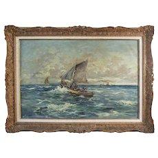 Polish Eugeniusz DZIERZENCKI 1905-1990 oil on canvas Seascape