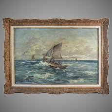 Polish Eugeniusz DZIERZENCKI 1905-1990 oil on canvas Seascape