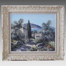 French Gabriel Deschamps born 1919 oil on canvas View of Cap Martin and Monaco