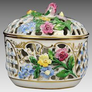 Antique Carl Thieme Potschappel Dresden Flower Encrusted reticulated covered Box