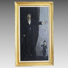 Russian French Sergei Chepik 1953-2011 THE PUPPETEER oil on canvas