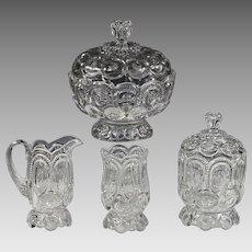 L.E.Smith Moon & Stars clear glass set Creamer Sugar Spooner Lidded Bowl