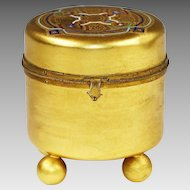 Antique French trinket or jewelry gild Bronze enamel Box