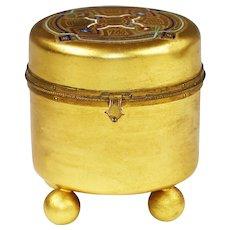 Antique French trinket or jewelry gild Bronze enamel Box