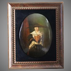 After Nicolas de Largilliere La Belle Strasbourgeoise Antique oil on wood painting signed