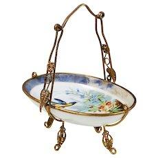 Antique French porcelain trinket Basket Dish in ormolu mounts