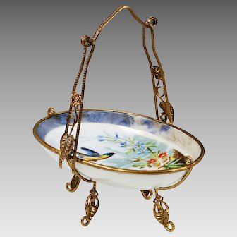 Antique French porcelain trinket Basket Dish in ormolu mounts