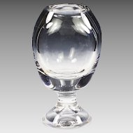 Vintage Saint Louise clear crystal round triangular Vase large very heavy