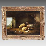 Belgian Eugene Verboeckhoven 1798-1881 Antique oil on wood painting