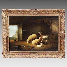 Belgian Eugene Verboeckhoven 1798-1881 Antique oil on wood painting