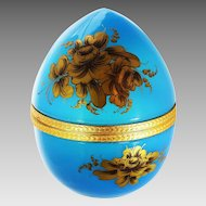 Antique French blue opaline crystal glass egg Box, hinged lid
