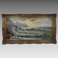 Guido Odierno 1913-1991 Italian Vintage O/C seascape painting