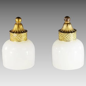 Pair of antique French white opaline glass Perfume Bottles