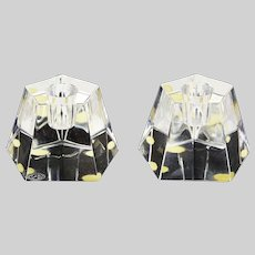 Pair of French Baccarat clear crystal Candleholders