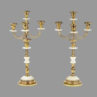 Pair of antique gilded bronze and alabaster glass Candelabras
