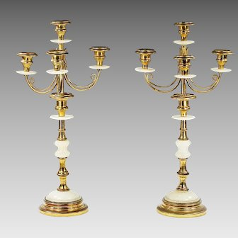 Pair of antique gilded bronze and alabaster glass Candelabras