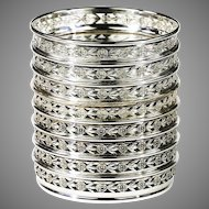 Set of 8 sterling silver and glass Coaster by Birks & Sons Montreal