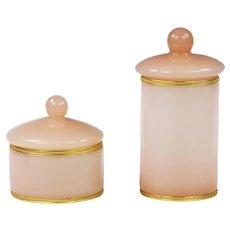 Pair of Pink opaline glass Vanity Boxes or Jars
