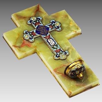 Antique French Holy Water Font bronze enamel cross mounted on onyx