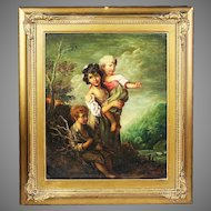 19th century Antique oil on canvas painting after Thomas Gainsborough 1727-1788