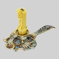 Antique French chamber Candleholder bronze enamel champleve cloisonne 4