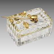 Vintage French cut lead clear Crystal hinged trinket or jewelry BOX, ormolu Rose