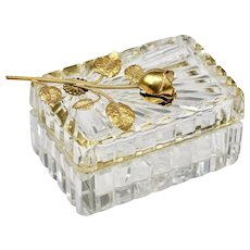 French cut lead clear Crystal hinged trinket or jewelry BOX