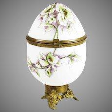 Large Antique Victorian white opaline glass Trinket Box