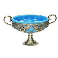 Antique French blue opaline glass berry or candy Bowl