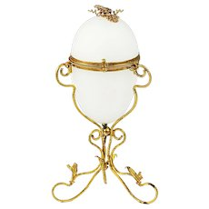 "8""H Antique French white opaline glass egg shaped Box in ormolu mounts"