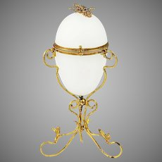 """8""""H Antique French white opaline glass egg shaped Box in ormolu mounts"""