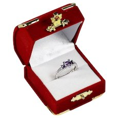 Fine 14K white gold Amethyst & Diamonds ring size 6 sizeable