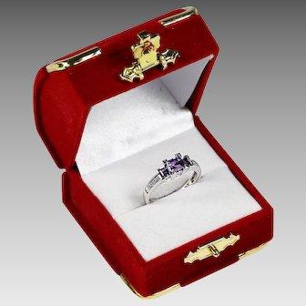 Fine 14K white gold Amethyst & Diamonds ring size 6 sizeable