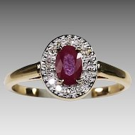 Fine 10K yellow gold Ruby & Diamonds ring size 6 sizeable
