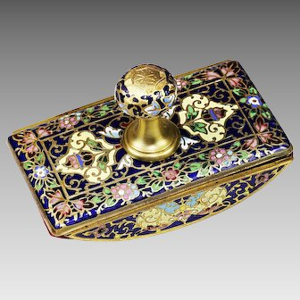 Antique French ink Blotter enamel on bronze champleve or cloisonne