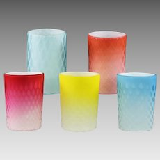 5 Phoenix Mt. Washington Glass Mother of Pearl air trap quilted Tumblers