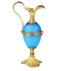 Antique French blue opaline glass egg hinged Box form of Ewer bronze mounts