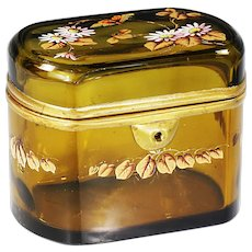 Antique French amber glass hinged Casket or Box enamel flowers butterfly ormolu