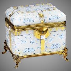 Antique French white opaline glass hinged Casket or Box enamel flowers ormolu