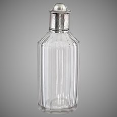 Antique 18th century clear glass Perfume Bottle with silver Lid
