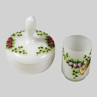 French Pierre Schneider white opaline glass Box & Tumbler hand painted