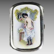 Antique c.1920 German Otto Bortenreuter 800 silver Enamel Cigarette Case